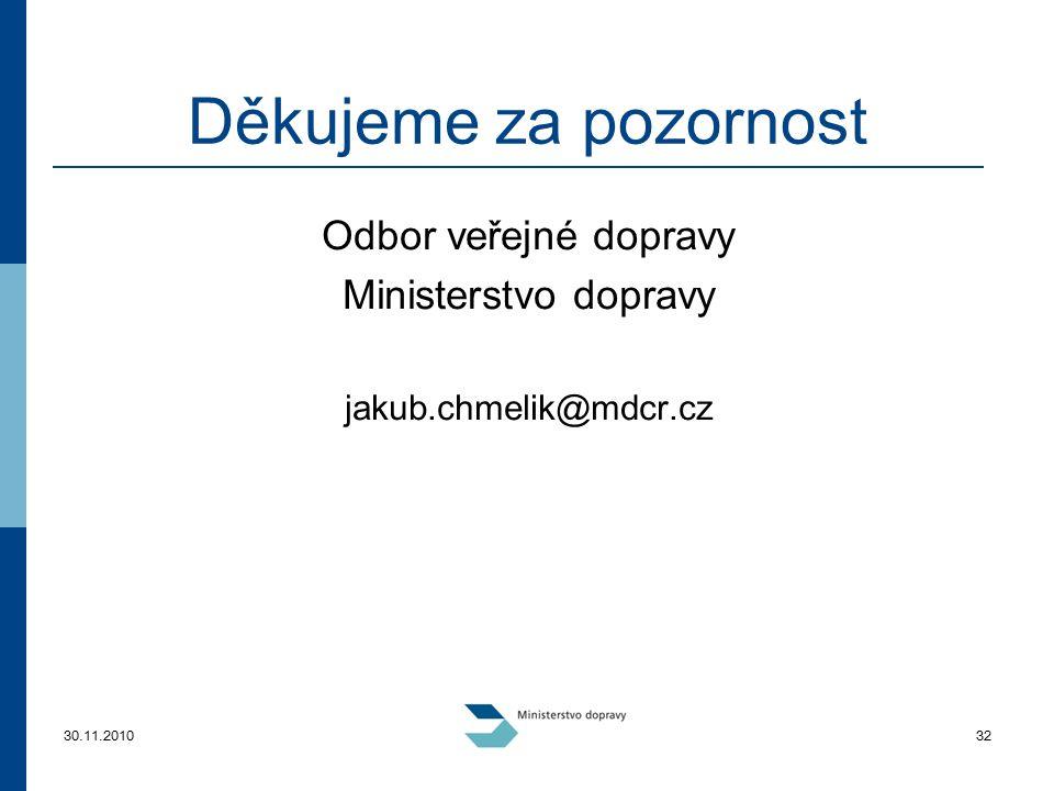 30.11.201032 Děkujeme za pozornost Odbor veřejné dopravy Ministerstvo dopravy jakub.chmelik@mdcr.cz