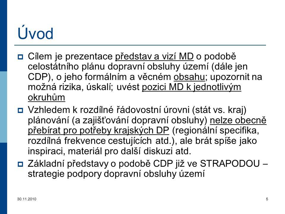 30.11.20105 Úvod  Cílem je prezentace představ a vizí MD o podobě celostátního plánu dopravní obsluhy území (dále jen CDP), o jeho formálním a věcném