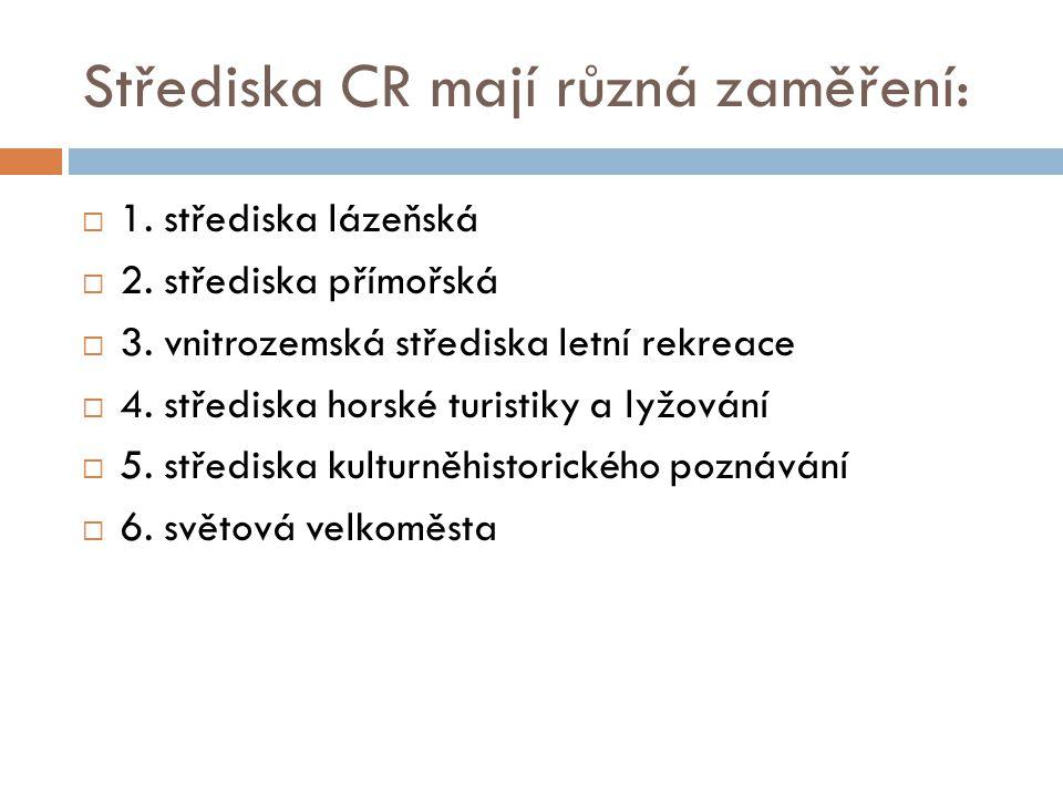 Střediska CR mají různá zaměření:  1. střediska lázeňská  2. střediska přímořská  3. vnitrozemská střediska letní rekreace  4. střediska horské tu