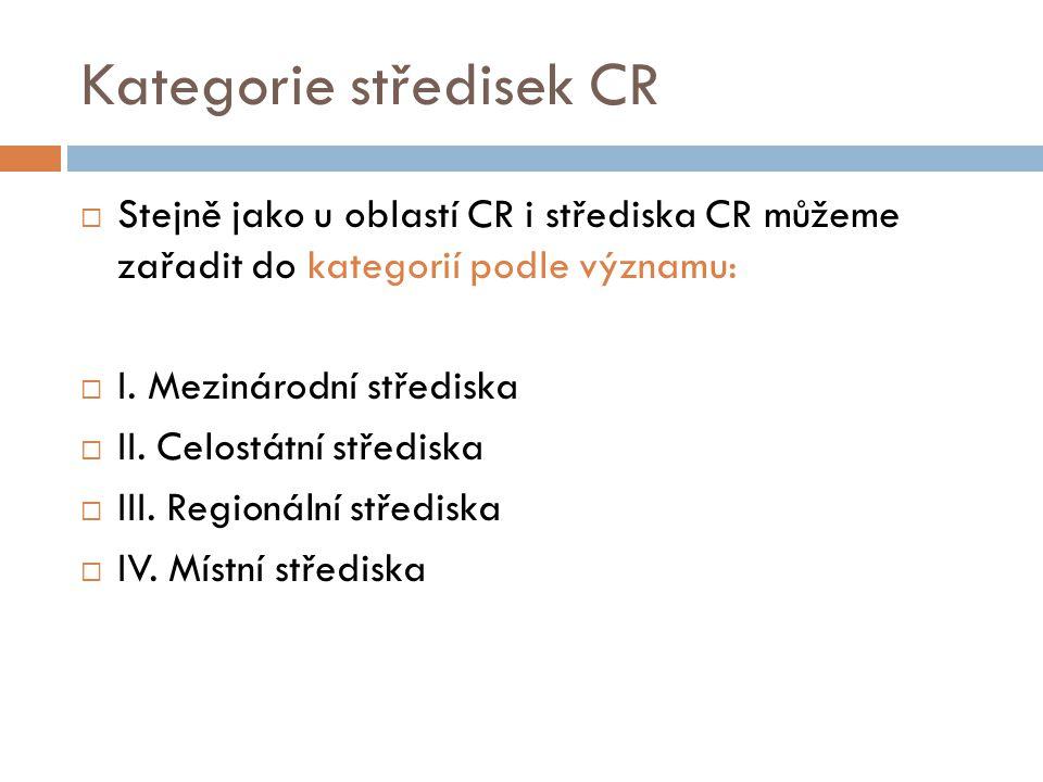 Kategorie středisek CR  Stejně jako u oblastí CR i střediska CR můžeme zařadit do kategorií podle významu:  I. Mezinárodní střediska  II. Celostátn