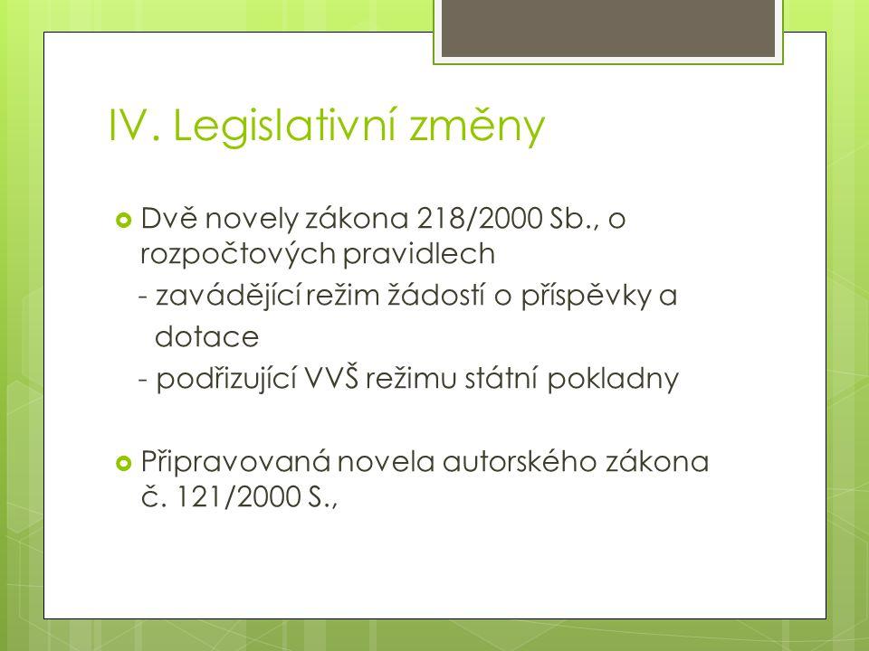 IV. Legislativní změny  Dvě novely zákona 218/2000 Sb., o rozpočtových pravidlech - zavádějící režim žádostí o příspěvky a dotace - podřizující VVŠ r