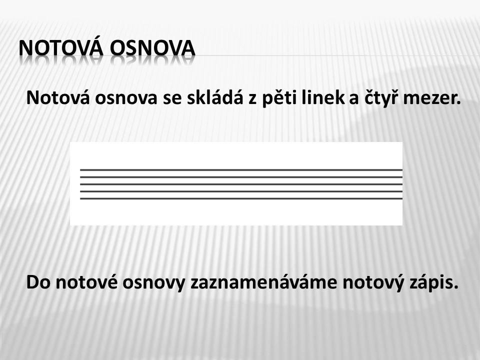 Notový zápis tvoří houslový nebo basový klíč, noty, pomlky, taktová čára a ostatní hudební značky.