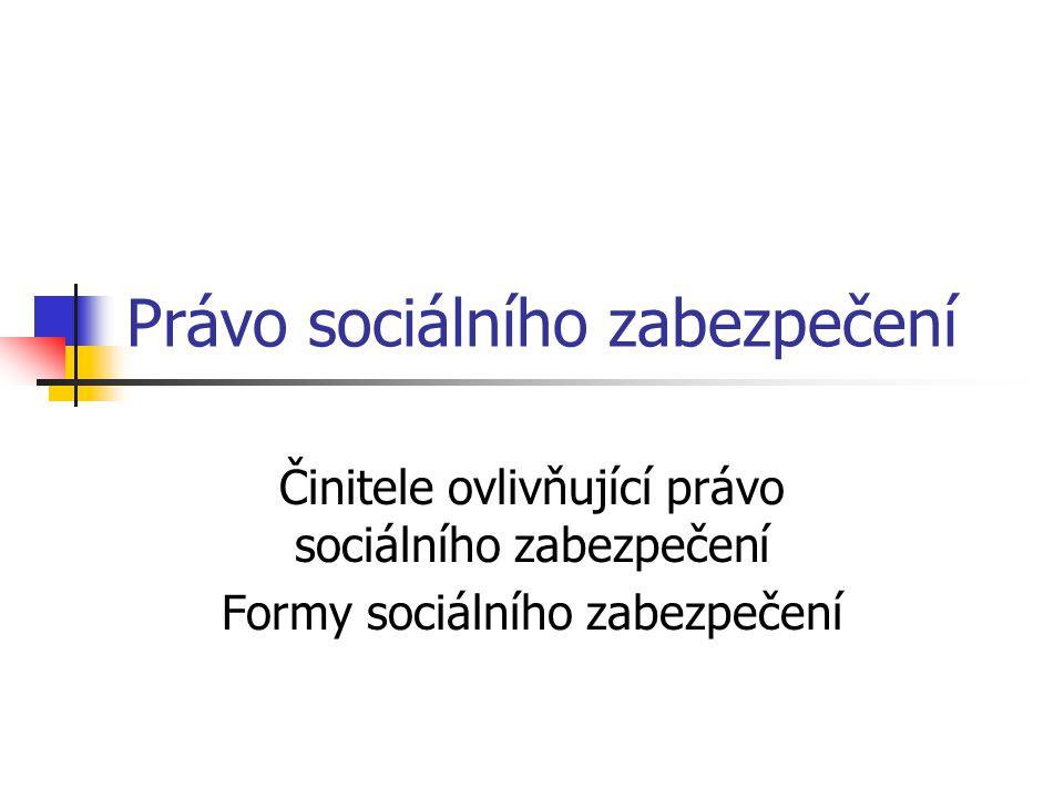 Právo sociálního zabezpečení Činitele ovlivňující právo sociálního zabezpečení Formy sociálního zabezpečení