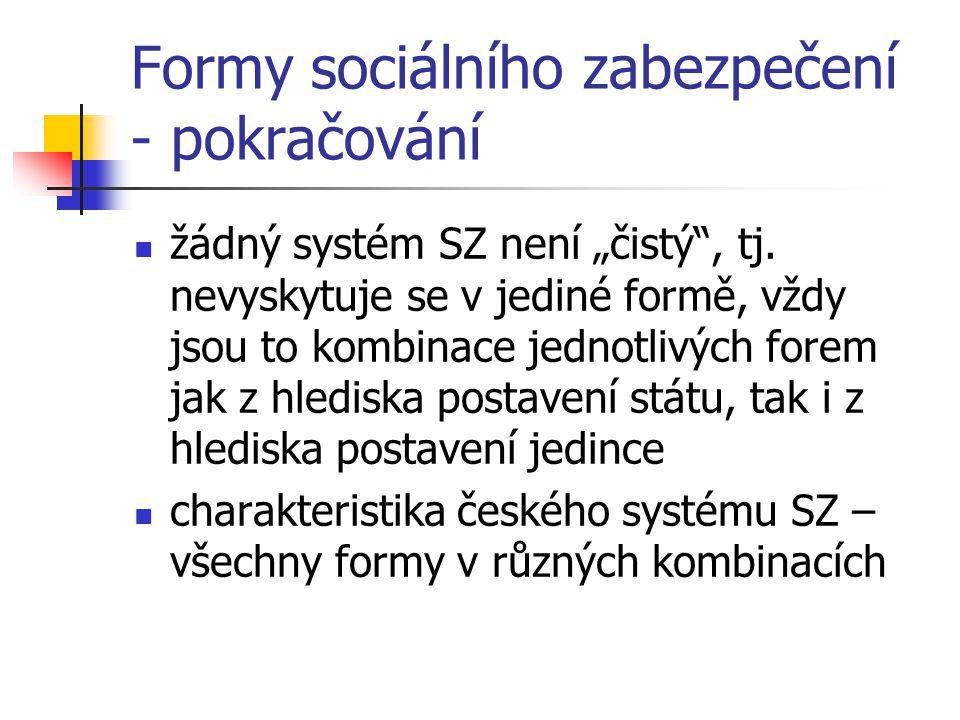 """Formy sociálního zabezpečení - pokračování žádný systém SZ není """"čistý"""", tj. nevyskytuje se v jediné formě, vždy jsou to kombinace jednotlivých forem"""