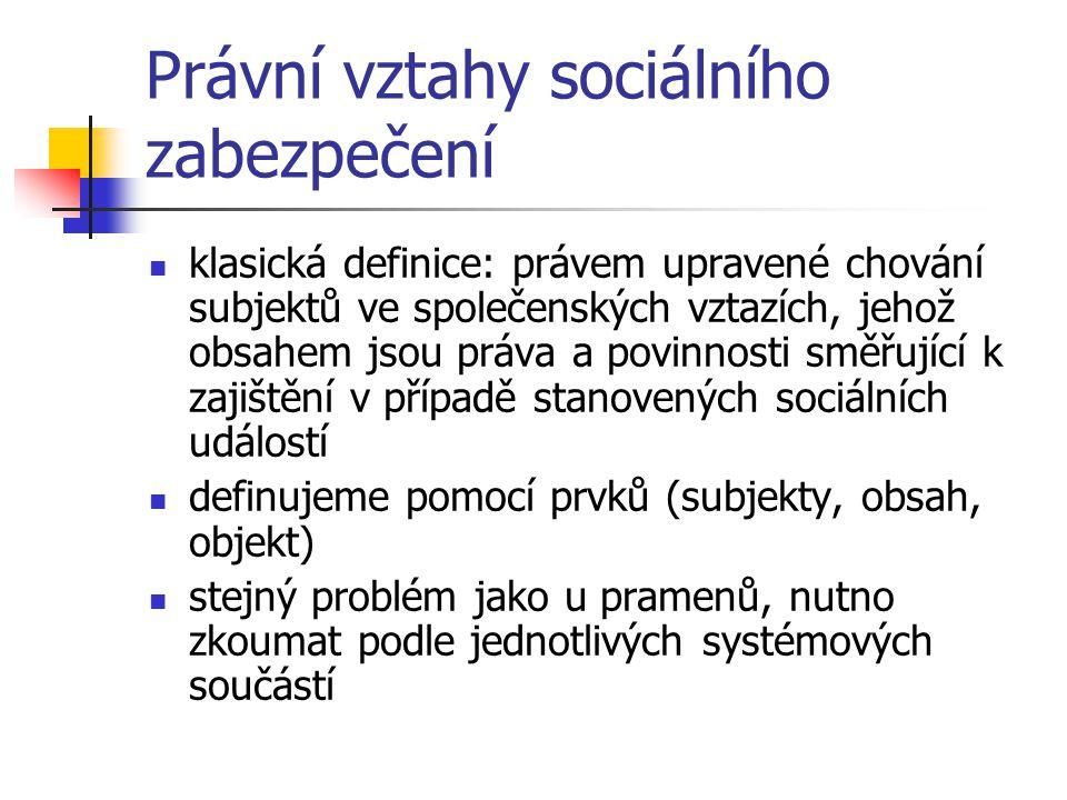 Právní vztahy sociálního zabezpečení klasická definice: právem upravené chování subjektů ve společenských vztazích, jehož obsahem jsou práva a povinno