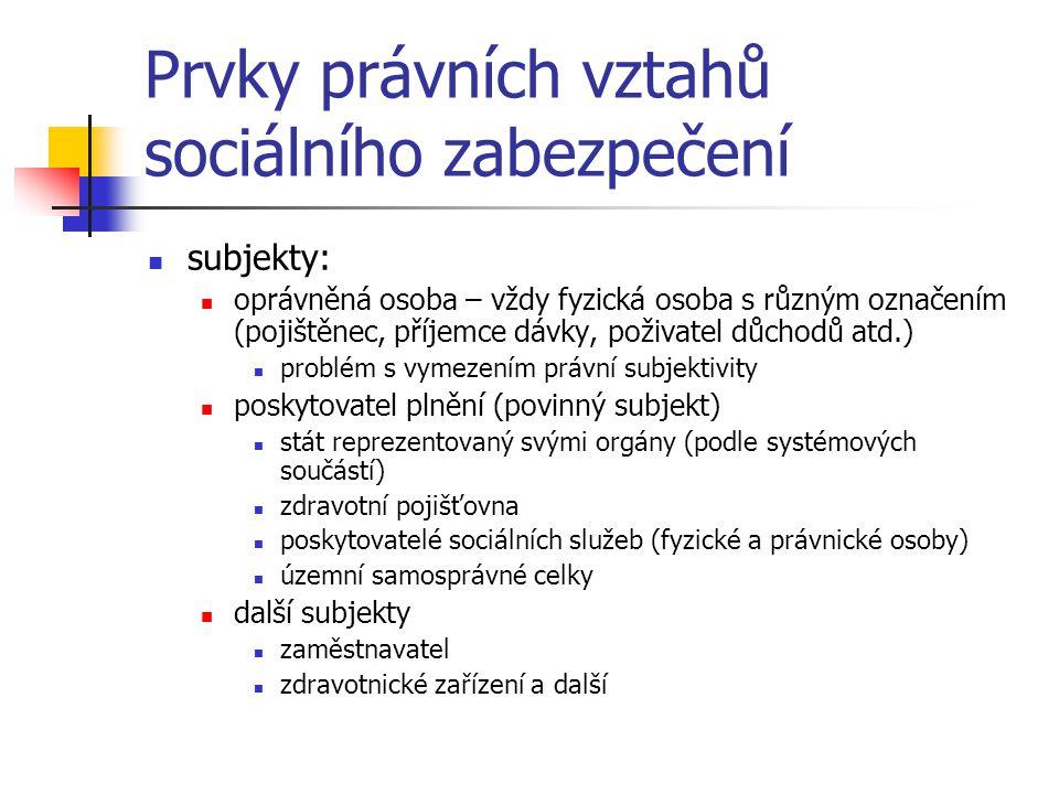 Prvky právních vztahů sociálního zabezpečení subjekty: oprávněná osoba – vždy fyzická osoba s různým označením (pojištěnec, příjemce dávky, poživatel