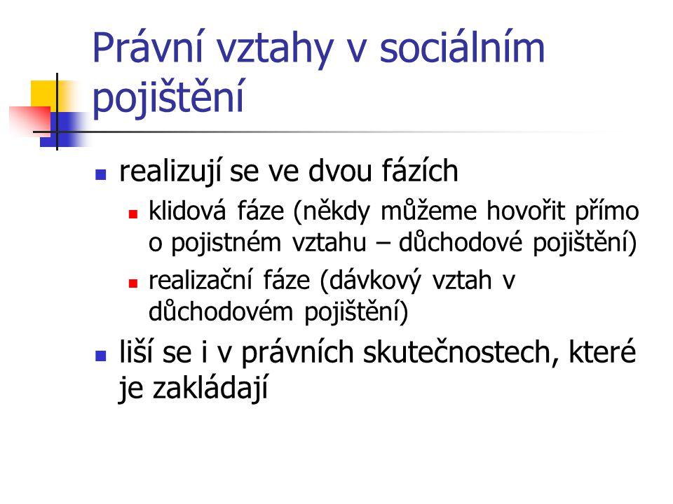 Právní vztahy v sociálním pojištění realizují se ve dvou fázích klidová fáze (někdy můžeme hovořit přímo o pojistném vztahu – důchodové pojištění) rea