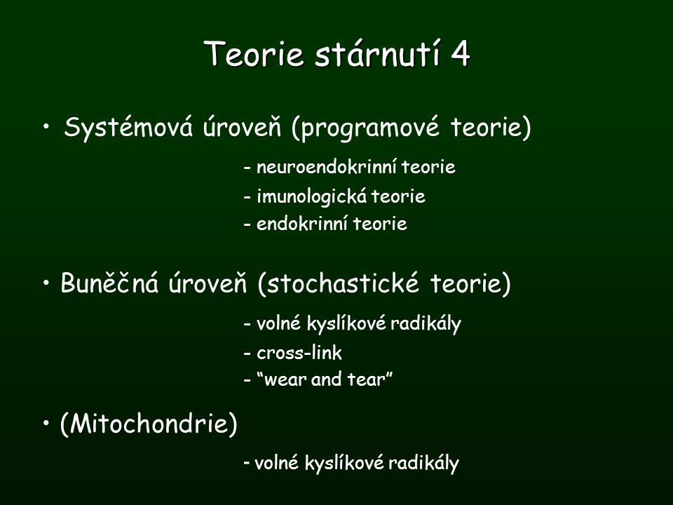 Teorie stárnutí 4 Systémová úroveň (programové teorie) - neuroendokrinní teorie - imunologická teorie - endokrinní teorie Buněčná úroveň (stochastické