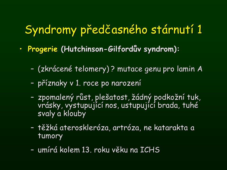 Syndromy předčasného stárnutí 1 Progerie (Hutchinson-Gilfordův syndrom):Progerie (Hutchinson-Gilfordův syndrom): –(zkrácené telomery) ? mutace genu pr