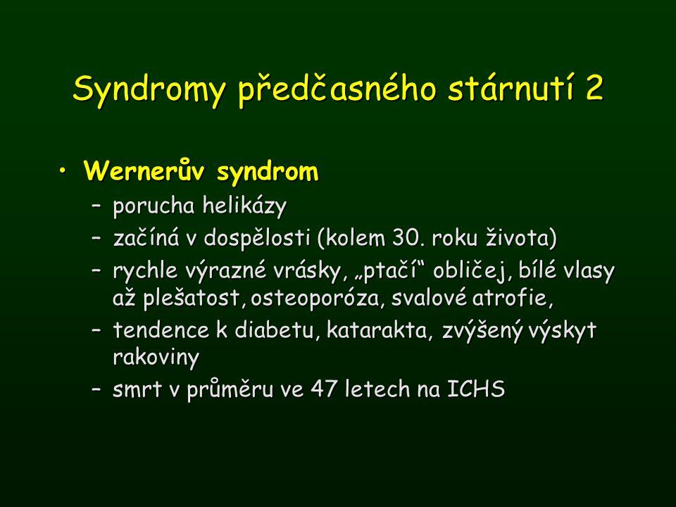 Syndromy předčasného stárnutí 2 Wernerův syndromWernerův syndrom –porucha helikázy –začíná v dospělosti (kolem 30. roku života) –rychle výrazné vrásky