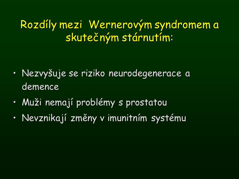Rozdíly mezi Wernerovým syndromem a skutečným stárnutím: Nezvyšuje se riziko neurodegenerace a demenceNezvyšuje se riziko neurodegenerace a demence Mu