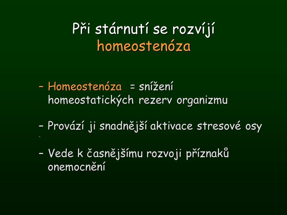Při stárnutí se rozvíjí homeostenóza –Homeostenóza = snížení homeostatických rezerv organizmu –Provází ji snadnější aktivace stresové osy – –Vede k ča
