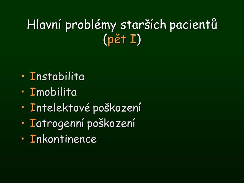 Hlavní problémy starších pacientů (pět I) InstabilitaInstabilita ImobilitaImobilita Intelektové poškozeníIntelektové poškození Iatrogenní poškozeníIat