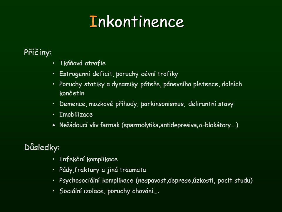 Inkontinence Příčiny: Tkáňová atrofie Estrogenní deficit, poruchy cévní trofiky Poruchy statiky a dynamiky páteře, pánevního pletence, dolních končeti