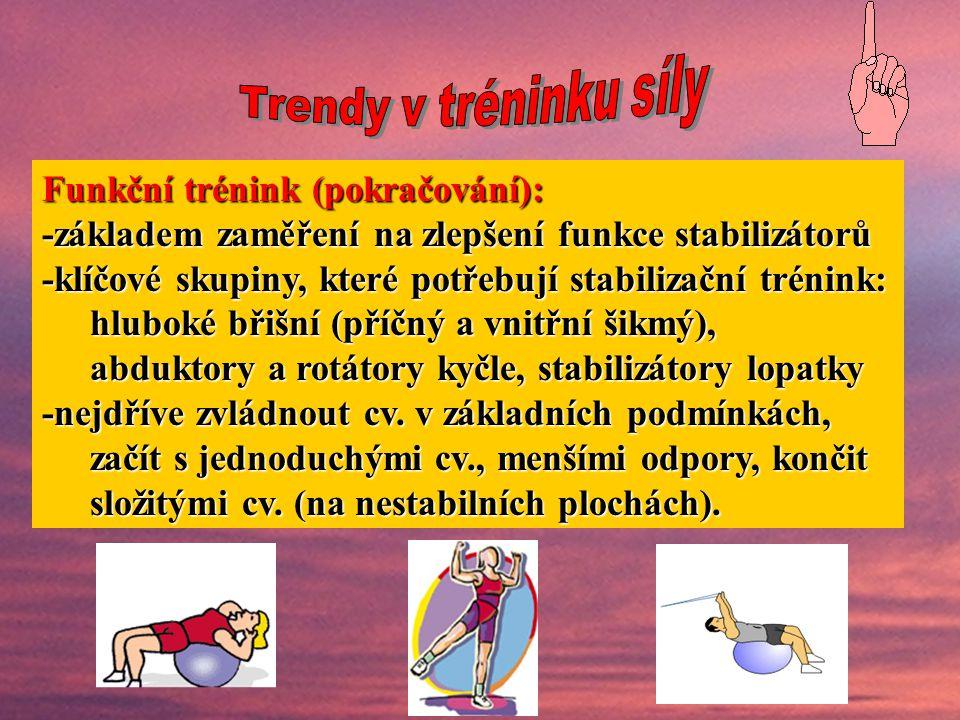 Funkční trénink (pokračování): -základem zaměření na zlepšení funkce stabilizátorů -klíčové skupiny, které potřebují stabilizační trénink: hluboké břišní (příčný a vnitřní šikmý), abduktory a rotátory kyčle, stabilizátory lopatky -nejdříve zvládnout cv.