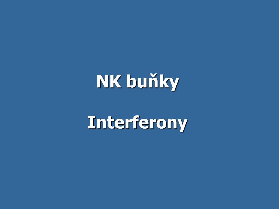 NK buňky Součást antigenně nespecifických mechanismů Součást antigenně nespecifických mechanismů Nemají antigenně specifické receptory Nemají antigenně specifické receptory Rozeznávají bb., které mají abnormálně málo MHCgpI (některé nádorové a virem infikované bb.) Rozeznávají bb., které mají abnormálně málo MHCgpI (některé nádorové a virem infikované bb.) Jsou schopny zabíjet rychle – bez předchozí stimulace, proliferace a diferenciace Jsou schopny zabíjet rychle – bez předchozí stimulace, proliferace a diferenciace Aktivátory NK bb.
