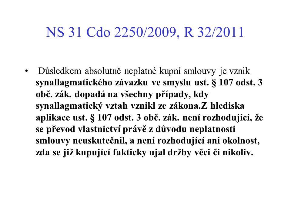 NS 31 Cdo 2250/2009, R 32/2011 Důsledkem absolutně neplatné kupní smlouvy je vznik synallagmatického závazku ve smyslu ust. § 107 odst. 3 obč. zák. do