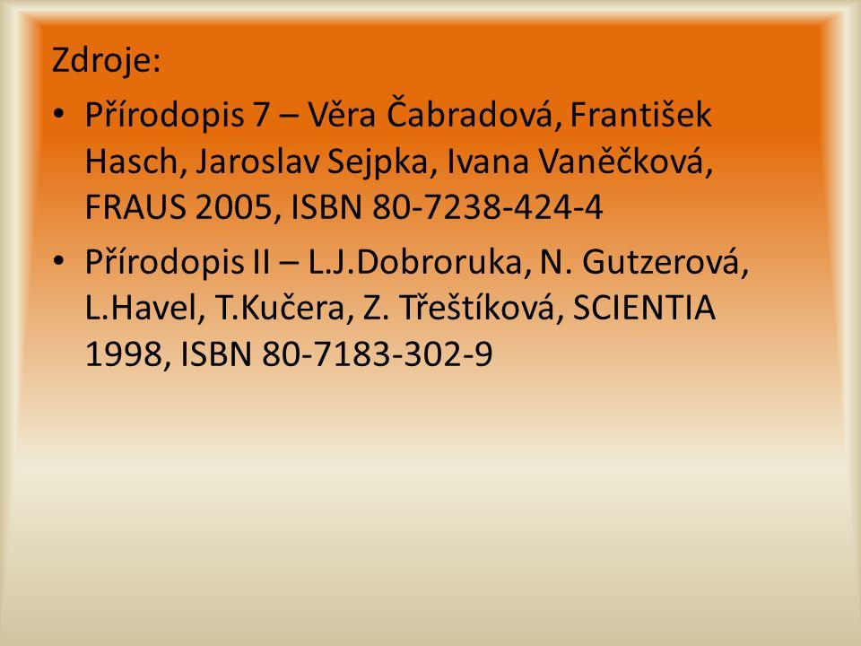 Zdroje: Přírodopis 7 – Věra Čabradová, František Hasch, Jaroslav Sejpka, Ivana Vaněčková, FRAUS 2005, ISBN 80-7238-424-4 Přírodopis II – L.J.Dobroruka, N.