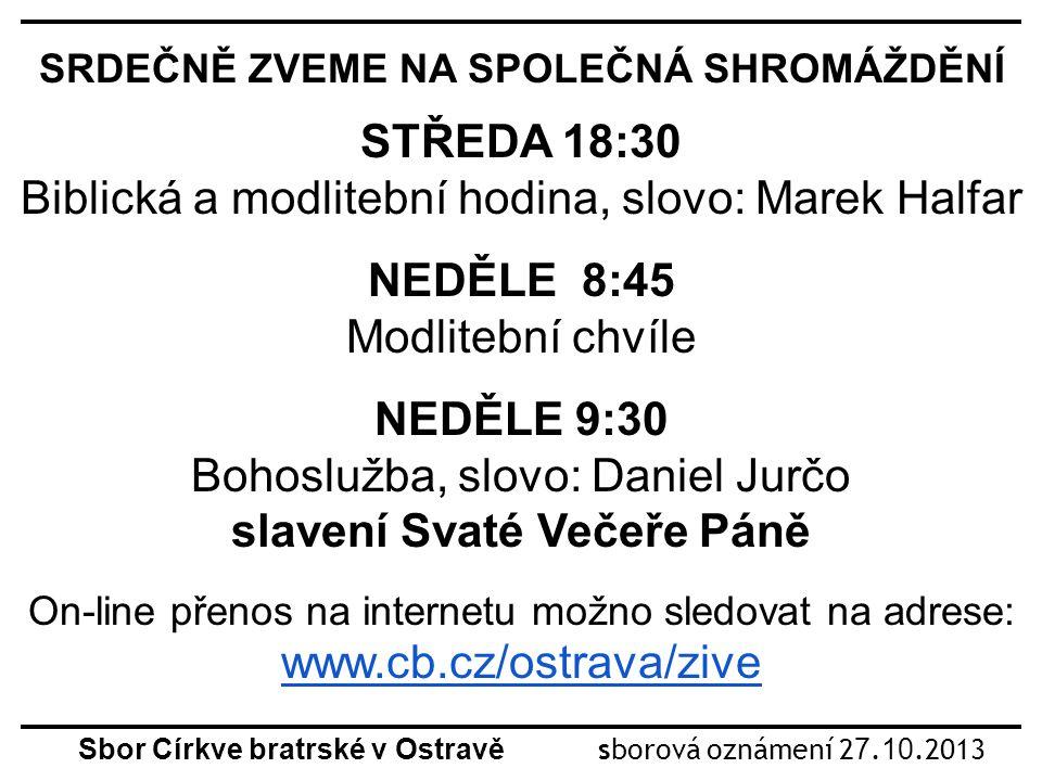 Sbor Církve bratrské v Ostravě sborová oznámení 2 7.