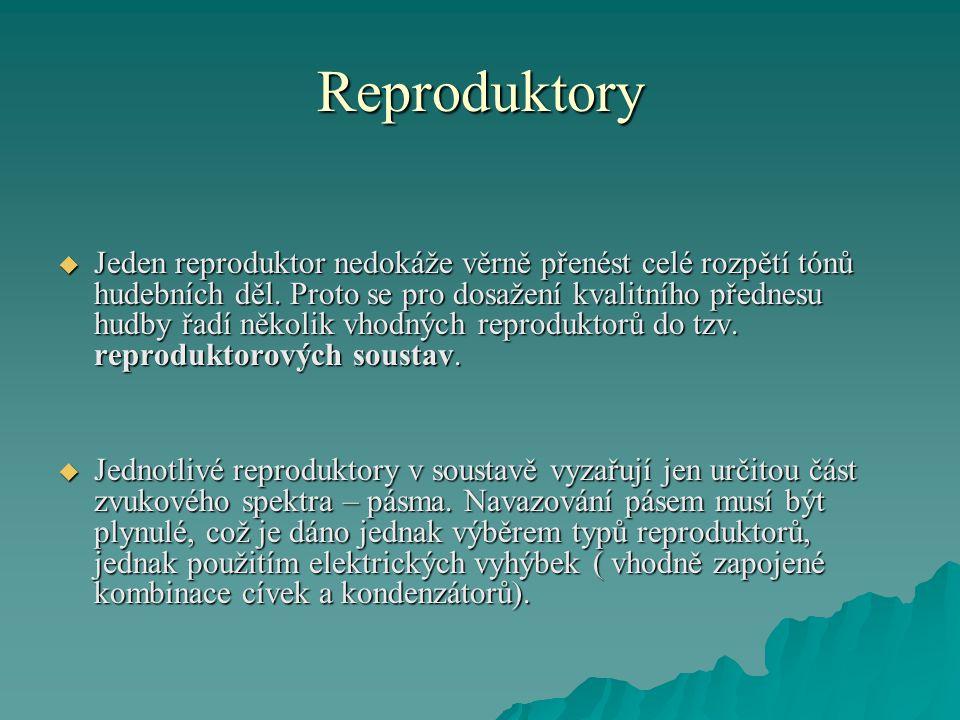 Reproduktory  Jeden reproduktor nedokáže věrně přenést celé rozpětí tónů hudebních děl. Proto se pro dosažení kvalitního přednesu hudby řadí několik