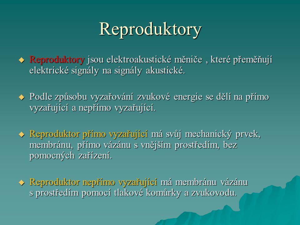Reproduktory  Reproduktory jsou elektroakustické měniče, které přeměňují elektrické signály na signály akustické.  Podle způsobu vyzařování zvukové