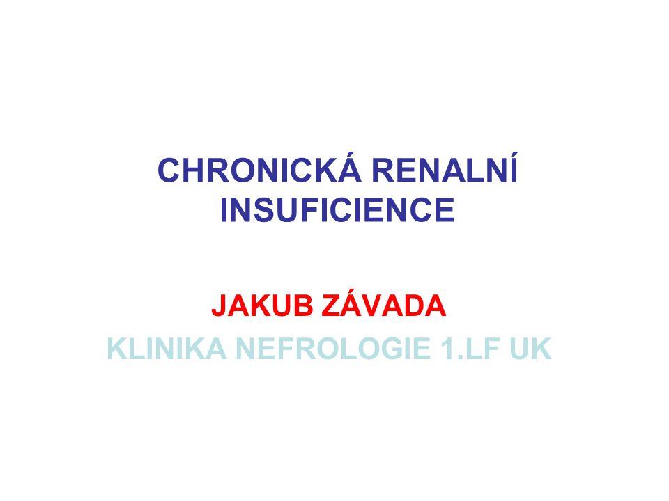 CHRONICKÁ RENALNÍ INSUFICIENCE JAKUB ZÁVADA KLINIKA NEFROLOGIE 1.LF UK
