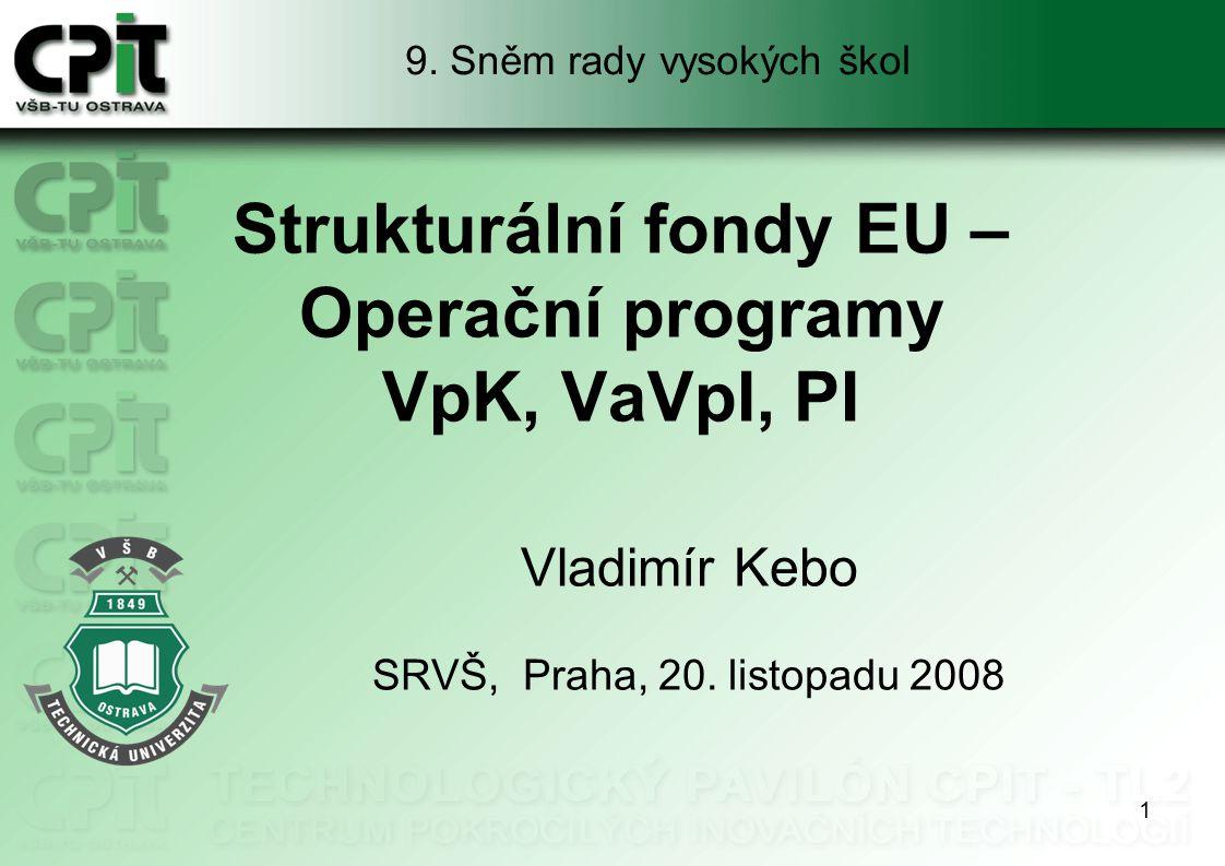 2 Osnova prezentace OP Podnikání a inovace OP Výzkum a vývoj pro inovace OP Vzdělávání pro konkurenceschopnost Závěr Operační programy VpK, VaVpI, PI, Sněm RVŠ, Praha, 20.11.2008