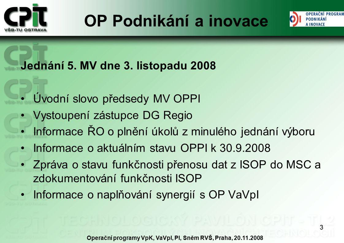 3 OP Podnikání a inovace Jednání 5. MV dne 3.