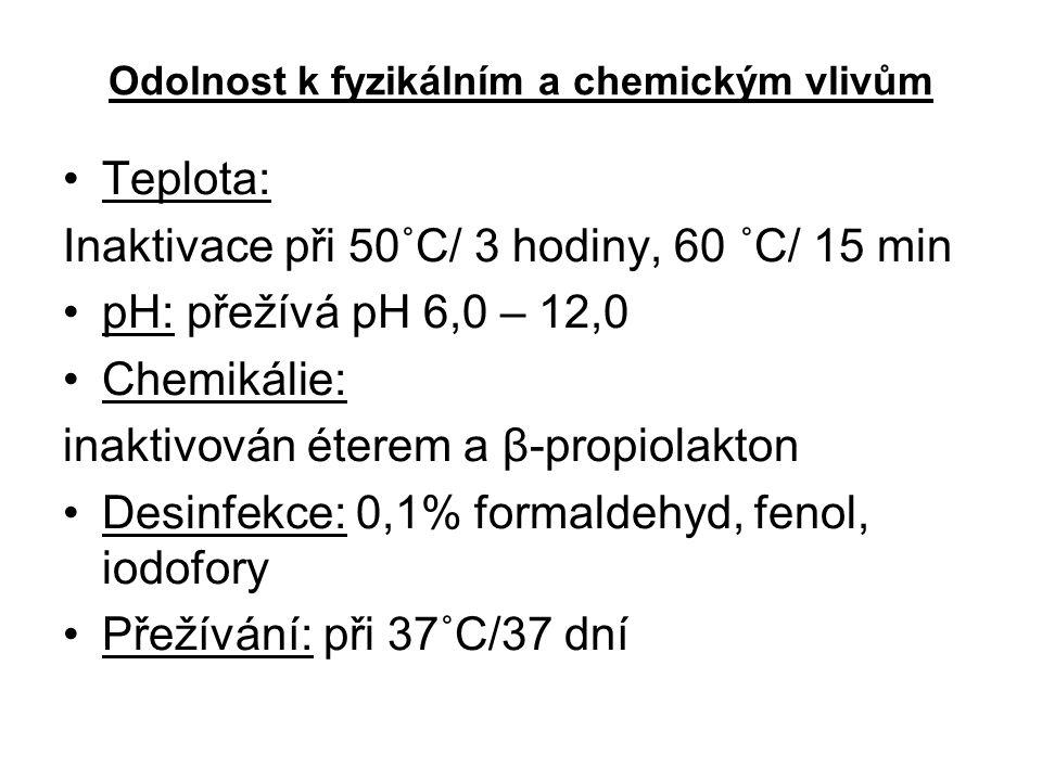 Odolnost k fyzikálním a chemickým vlivům Teplota: Inaktivace při 50˚C/ 3 hodiny, 60 ˚C/ 15 min pH: přežívá pH 6,0 – 12,0 Chemikálie: inaktivován éterem a β-propiolakton Desinfekce: 0,1% formaldehyd, fenol, iodofory Přežívání: při 37˚C/37 dní