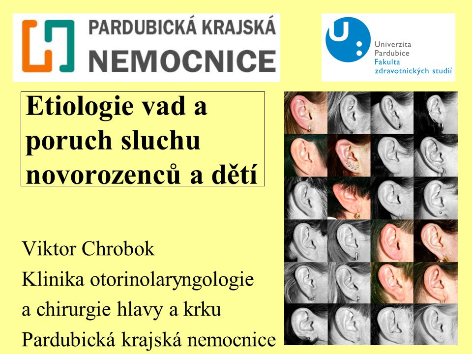 Etiologie vad a poruch sluchu novorozenců a dětí Viktor Chrobok Klinika otorinolaryngologie a chirurgie hlavy a krku Pardubická krajská nemocnice