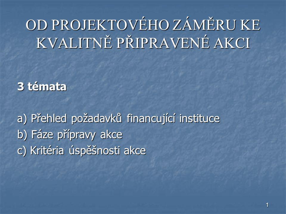 1 OD PROJEKTOVÉHO ZÁMĚRU KE KVALITNĚ PŘIPRAVENÉ AKCI 3 témata a) Přehled požadavků financující instituce b) Fáze přípravy akce c) Kritéria úspěšnosti akce