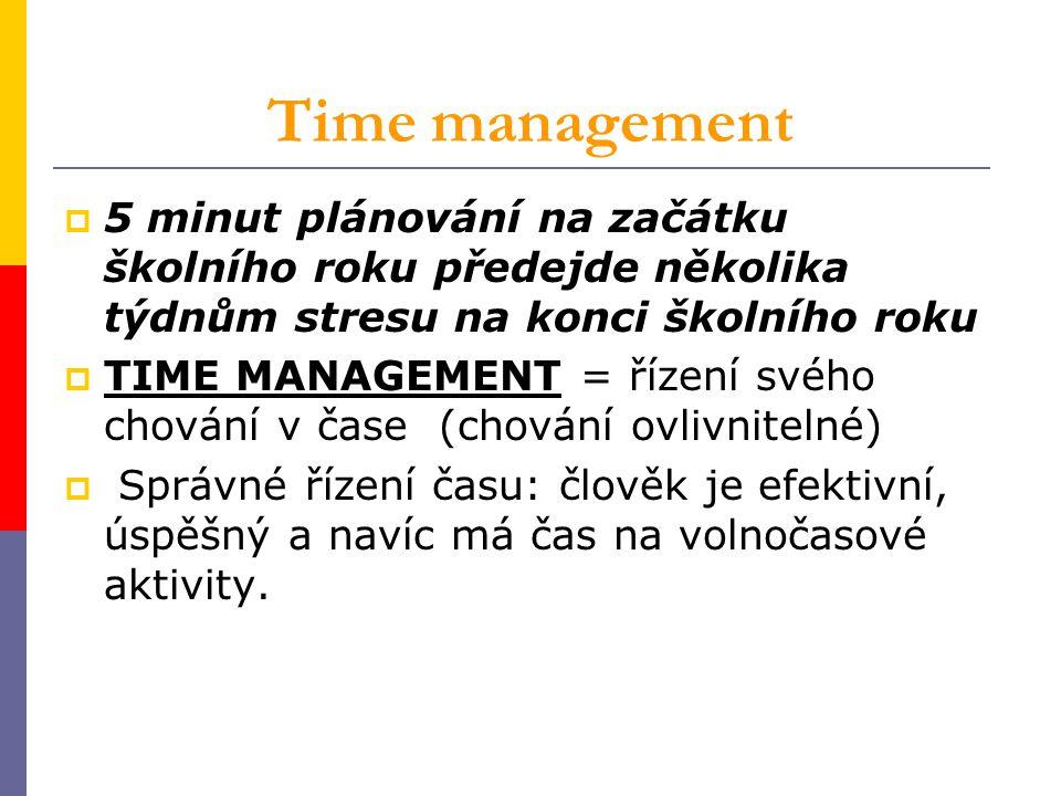 Time management  5 minut plánování na začátku školního roku předejde několika týdnům stresu na konci školního roku  TIME MANAGEMENT = řízení svého c