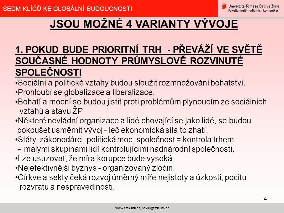 4 www.fmk.utb.cz, pavlu@fmk.utb.cz SEDM KLÍČŮ KE GLOBÁLNÍ BUDOUCNOSTI JSOU MOŽNÉ 4 VARIANTY VÝVOJE 1.