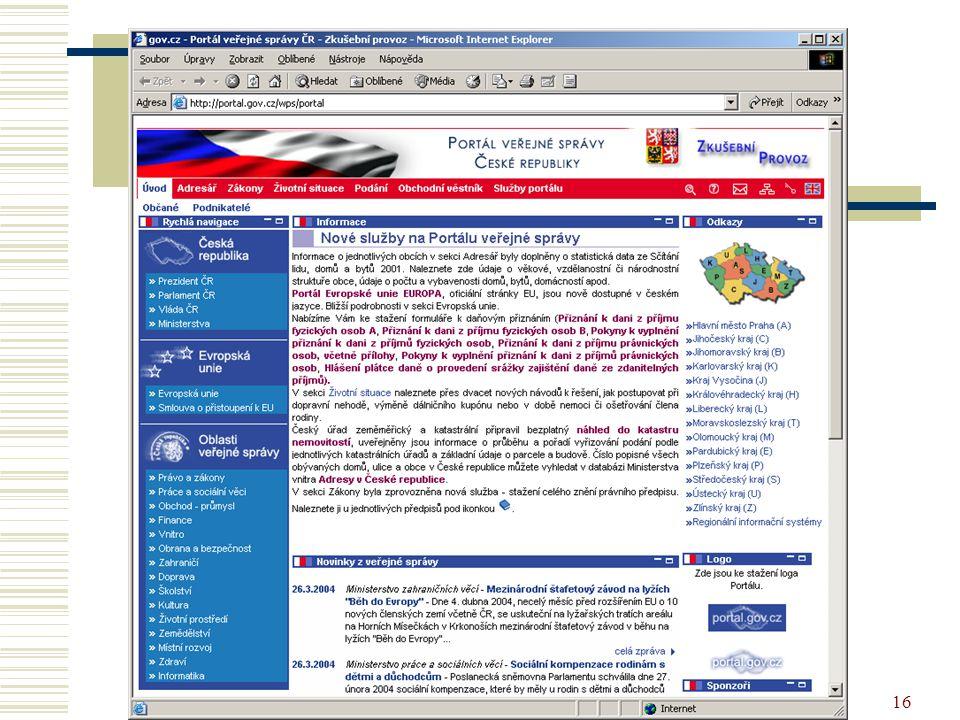 16 Portál veřejné správy
