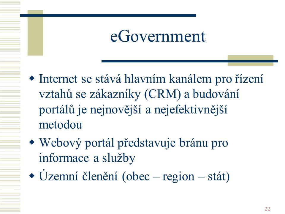 22 eGovernment  Internet se stává hlavním kanálem pro řízení vztahů se zákazníky (CRM) a budování portálů je nejnovější a nejefektivnější metodou  W