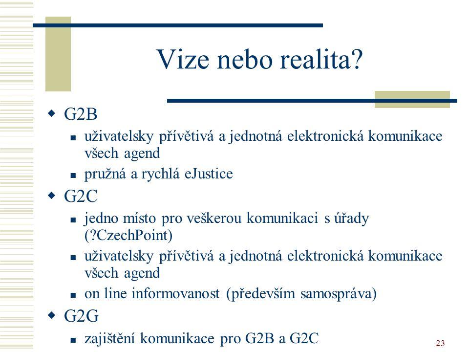 23 Vize nebo realita?  G2B uživatelsky přívětivá a jednotná elektronická komunikace všech agend pružná a rychlá eJustice  G2C jedno místo pro vešker