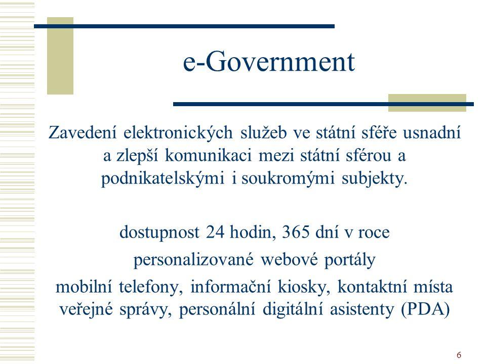 6 Zavedení elektronických služeb ve státní sféře usnadní a zlepší komunikaci mezi státní sférou a podnikatelskými i soukromými subjekty. dostupnost 24
