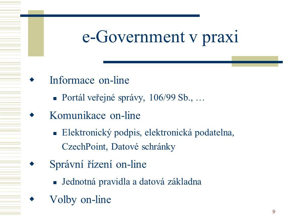 9 e-Government v praxi  Informace on-line Portál veřejné správy, 106/99 Sb., …  Komunikace on-line Elektronický podpis, elektronická podatelna, Czec