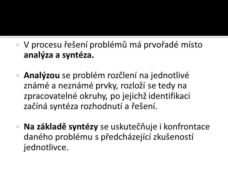  V procesu řešení problémů má prvořadé místo analýza a syntéza.  Analýzou se problém rozčlení na jednotlivé známé a neznámé prvky, rozloží se tedy n