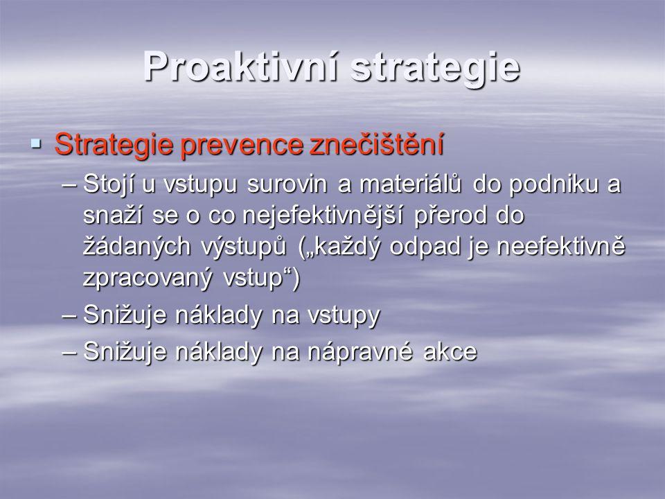 Proaktivní strategie  Strategie prevence znečištění –Stojí u vstupu surovin a materiálů do podniku a snaží se o co nejefektivnější přerod do žádaných