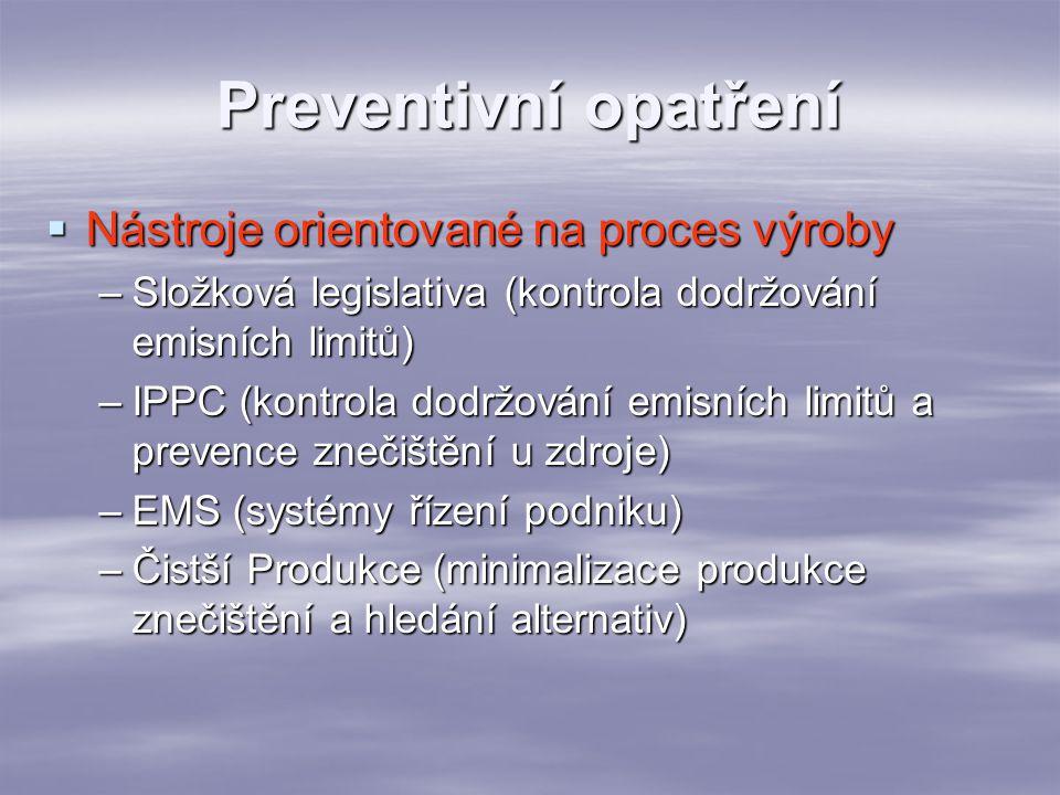 """Preventivní opatření  Nástroje orientované na výrobky –Ekodesign (čistší produkce aplikovaná na výrobek, na celý jeho """"život )  Dematerializace – přeměna výrobku na službu –LCA (informační nástroj identifikující vlivy na žp v rámci celého životního cyklu produktu) –Některá legislativa, např k obalům, vyřazeným automobilům, zákazy určitých látek (CFC)"""