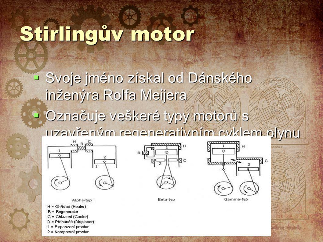 Stirlingův motor  Svoje jméno získal od Dánského inženýra Rolfa Meijera  Označuje veškeré typy motorů s uzavřeným regenerativním cyklem plynu