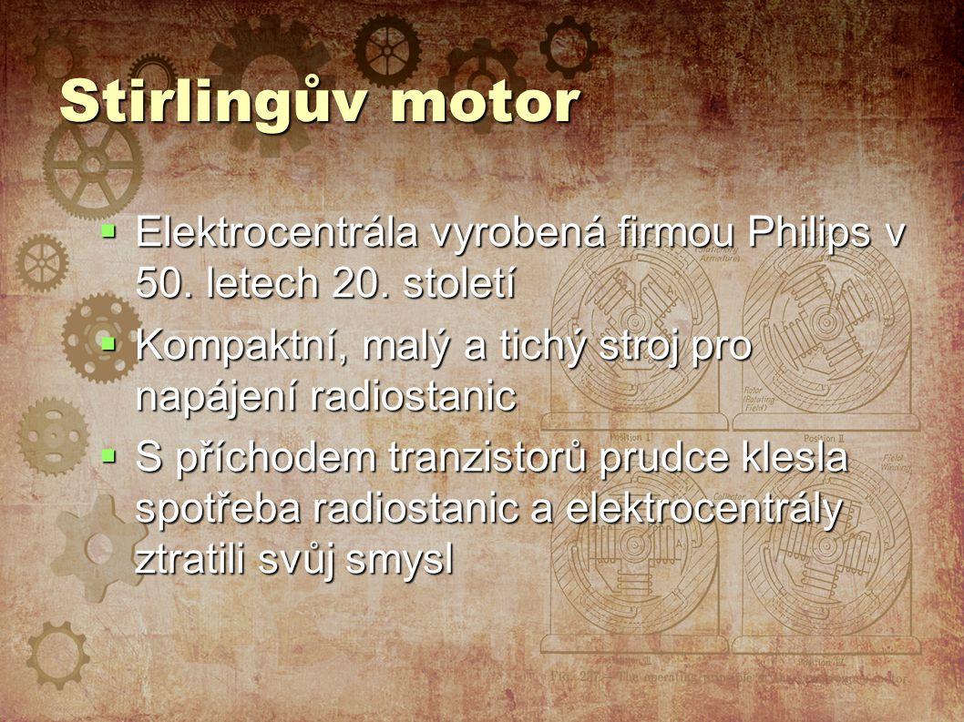Stirlingův motor  Elektrocentrála vyrobená firmou Philips v 50.