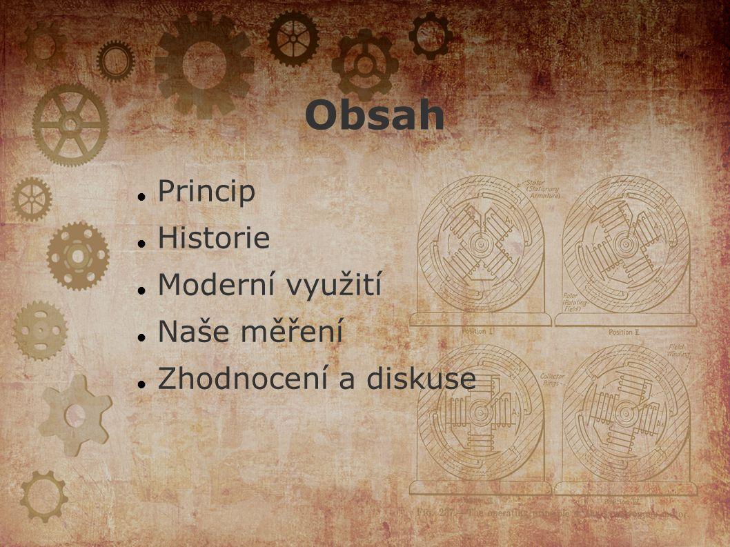 Obsah Princip Historie Moderní využití Naše měření Zhodnocení a diskuse