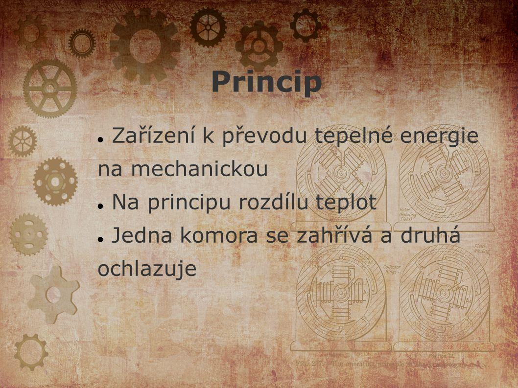 Princip Zařízení k převodu tepelné energie na mechanickou Na principu rozdílu teplot Jedna komora se zahřívá a druhá ochlazuje