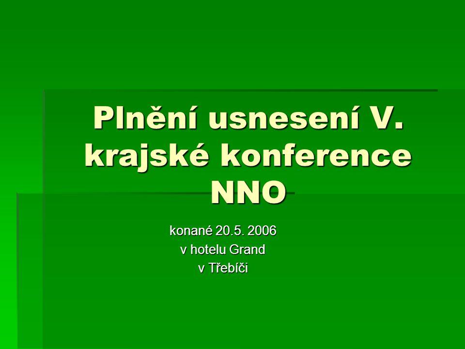 Plnění usnesení V. krajské konference NNO konané 20.5. 2006 v hotelu Grand v Třebíči