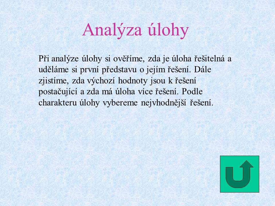 Analýza úlohy Při analýze úlohy si ověříme, zda je úloha řešitelná a uděláme si první představu o jejím řešení.