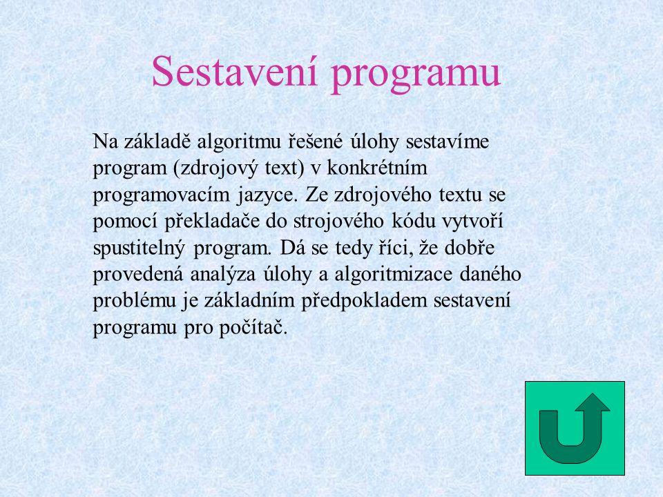 Sestavení programu Na základě algoritmu řešené úlohy sestavíme program (zdrojový text) v konkrétním programovacím jazyce.