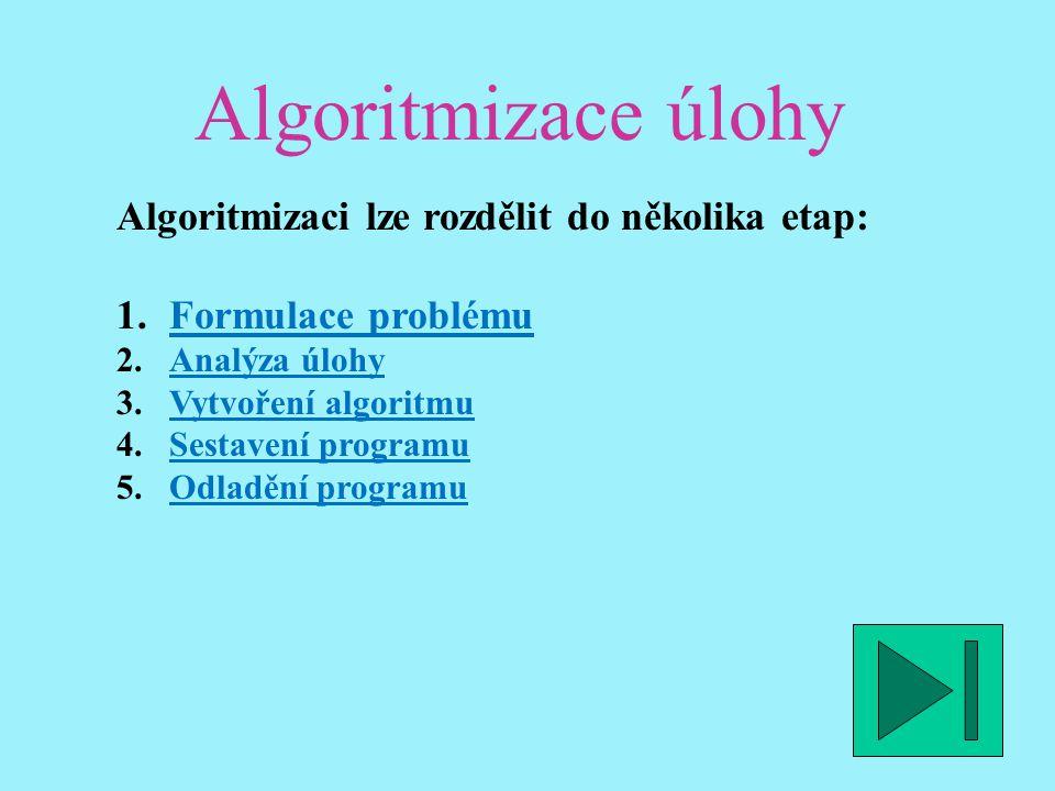 Algoritmizace úlohy Algoritmizaci lze rozdělit do několika etap: 1.Formulace problémuFormulace problému 2.Analýza úlohyAnalýza úlohy 3.Vytvoření algoritmuVytvoření algoritmu 4.Sestavení programuSestavení programu 5.Odladění programuOdladění programu