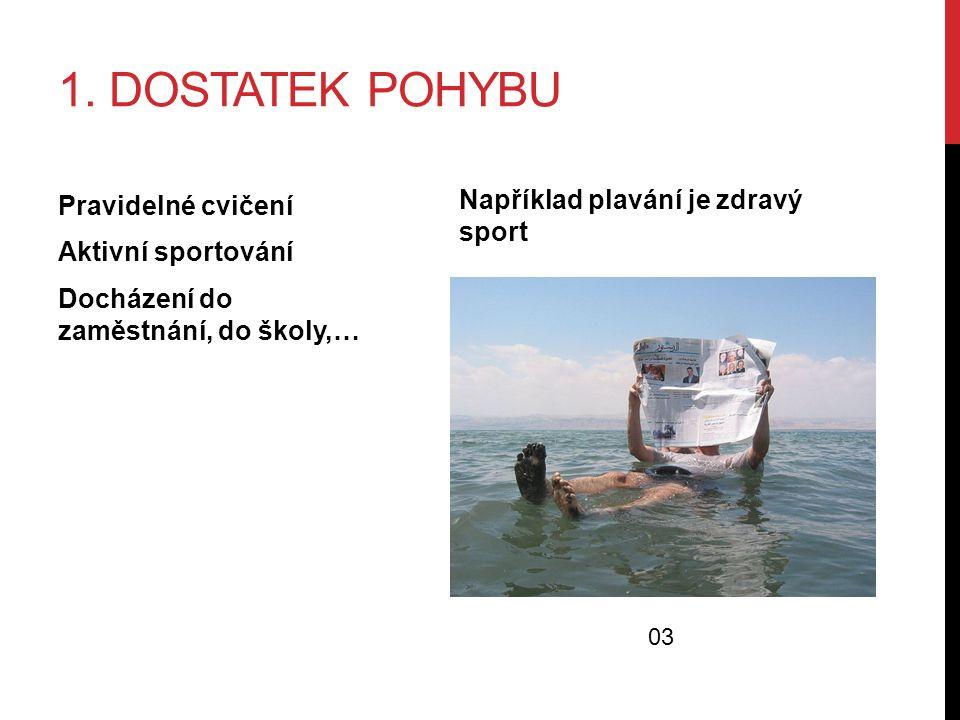 1. DOSTATEK POHYBU Pravidelné cvičení Aktivní sportování Docházení do zaměstnání, do školy,… Například plavání je zdravý sport 03